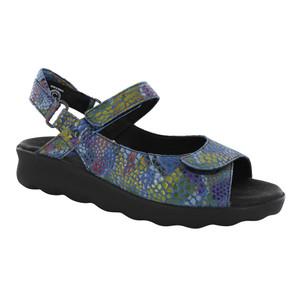 Wolky Women's Pichu Sandal Jeans Blue Multi Color Fantasy