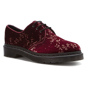 Dr Martens Hugh Cherry Red Velvet Blossom Oxfords Ladies Casual Shoes | Docs R14612600 Cherry Red Velvet