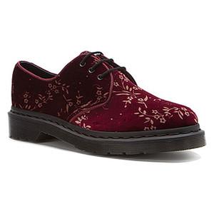 Dr Martens Hugh Cherry Red Velvet Blossom Oxfords Ladies Casual Shoes