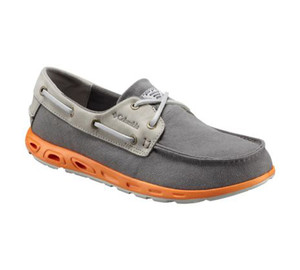 Columbia Men's Bonehead Vent Leather PFG Boat Shoe Charcoal/Orange Blast