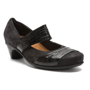Naot Attitude Mary Jane Black Velvet/Gloss Ladies Casual Shoes