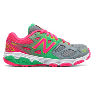 New Balance Girl's KR680GKY Athletic Shoe Grey/Pink