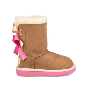 UGG Girls Toddler Bailey Button II Boot Chestnut/Pink Azalea
