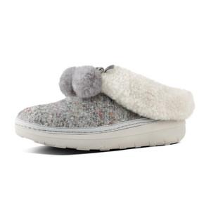 Fitflop Women's Loaff Snug Pom Slipper Dusty Grey   Fitflop J24-505 Dusty Grey