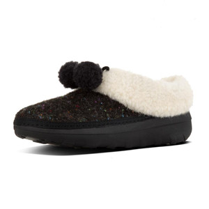 Fitflop Women's Loaff Snug Pom Slipper  Black