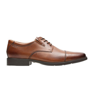 Clarks Men's Tilden Cap Toe Dress Shoe Dark Tan Leather | Clarks 30096 Dk Tan
