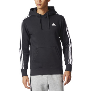 Adidas Men's Essentials 3 Stripe Pullover Hoodie Black/White