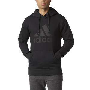 Adidas Men's Essentials Cotton Pull Over Logo Hoodie Black/Black