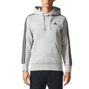 Adidas Men's Essential 3 Stripe Pull Over Hoodie Medium Grey Heather/Black
