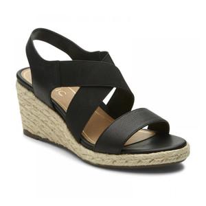 Vionic Women's Ainsleigh Wedge Sandal Black | Vionic Ainsleigh Black