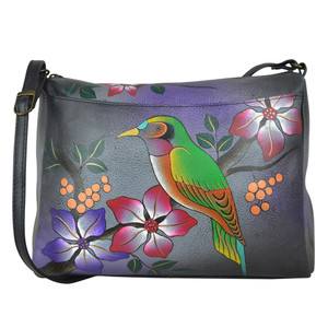 Anuschka Women's 8073 East West Bag Bird On A Branch Grey | Anuschka 8073 BBR