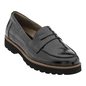 Earthies Women's Braga Penny Loafer Black Tumbled Patent