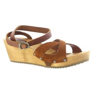 Sanita Women's Wood Thalia Wedge Flex Sandal Cognac | Sanita 457214 Cognac