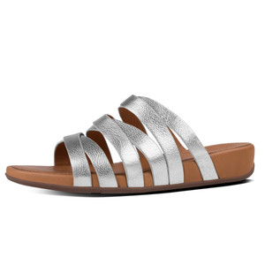 Fitflop Women's Lumy Leather Slide Silver | Fitflop E62-011 Silver