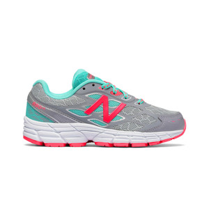 New Balance Girl's KJ880GAY Athletic Shoe Grey/Pink 11.5