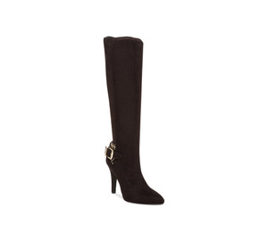 BCBG Women's Eileen Tall Boot Black Suede Stretch