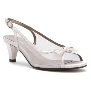 David Tate Women's Prom Dress Sandal Silver Satin | David Tate Prom Silver Satin