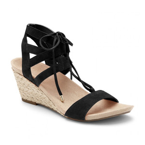 Vionic Women's Noble Tansy Lace Up Wedge Black