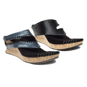 Modzori Women's Tita Reversible Wedge Sandal Blue Metallic Snake/Black