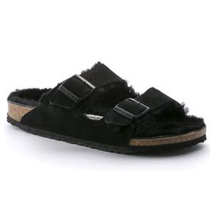Birkenstock Unisex Arizona Fur Sandal Black Suede | Birk 752661 Black