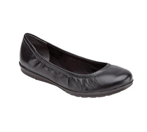 Rockport Women's Total Motion Ballet Flat Black Waxed 5