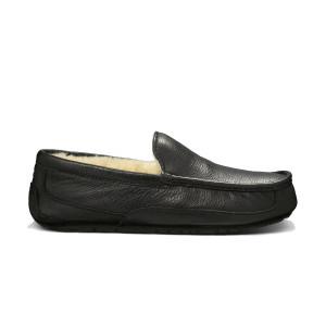 UGG Ascot Slipper Black Leather Mens 5379B | UGG 5379B Black Leather