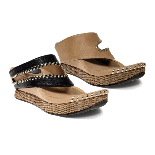 Modzori Women's Tita Reversible Wedge Sandal Black/Beige - Shop now @ Shoolu.com