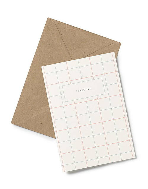 The Thank-You Greeting Card from Kartotek Copenhagen has a blank interior, comes with envelope