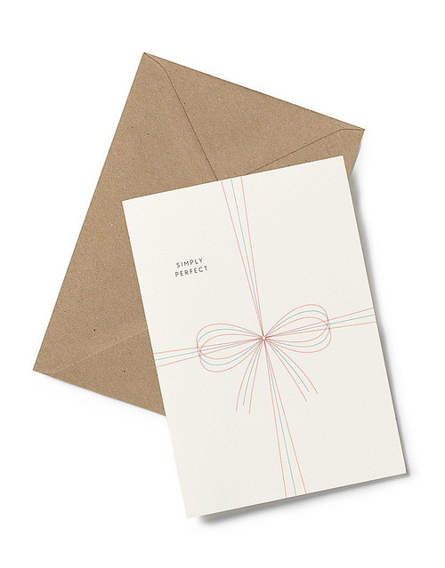 Bow Greeting Card from Kartotek Copenhagen has a blank interior, comes with envelope