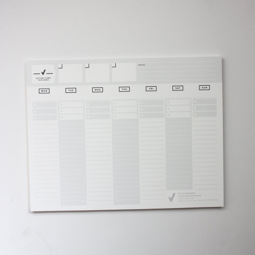 The Perpetual Calendar Pad is an undated Weekly Planner from the Get to Work Book People.