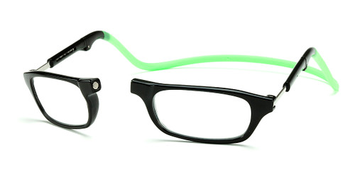 Clic Compact Reading Glasses in Black Frame with Green Headband Rx S.V.