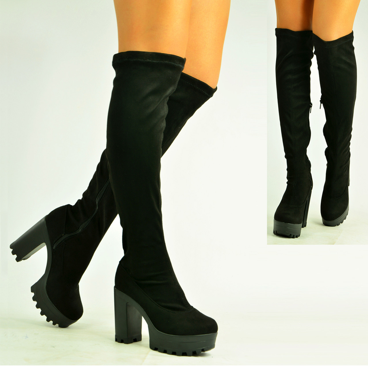 1f49a6884333 Brand New Womens Grey Suede Low Flat Heel Over The Knee Boots - £18