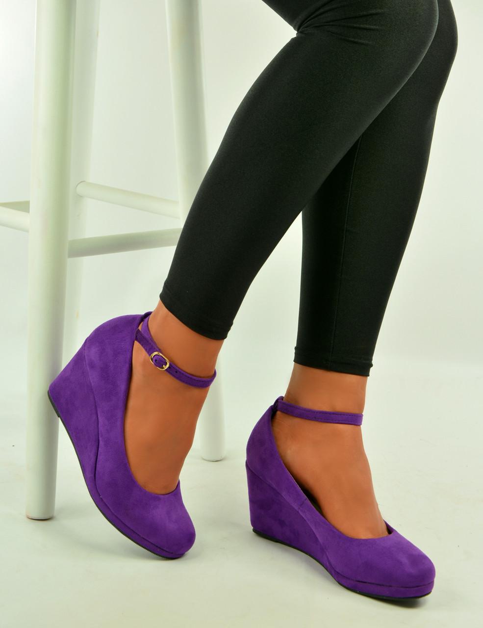 67c766ec0bd New womens ladies purple suede platform pumps wedges sandals shoes jpg  985x1280 Purple pink wedges