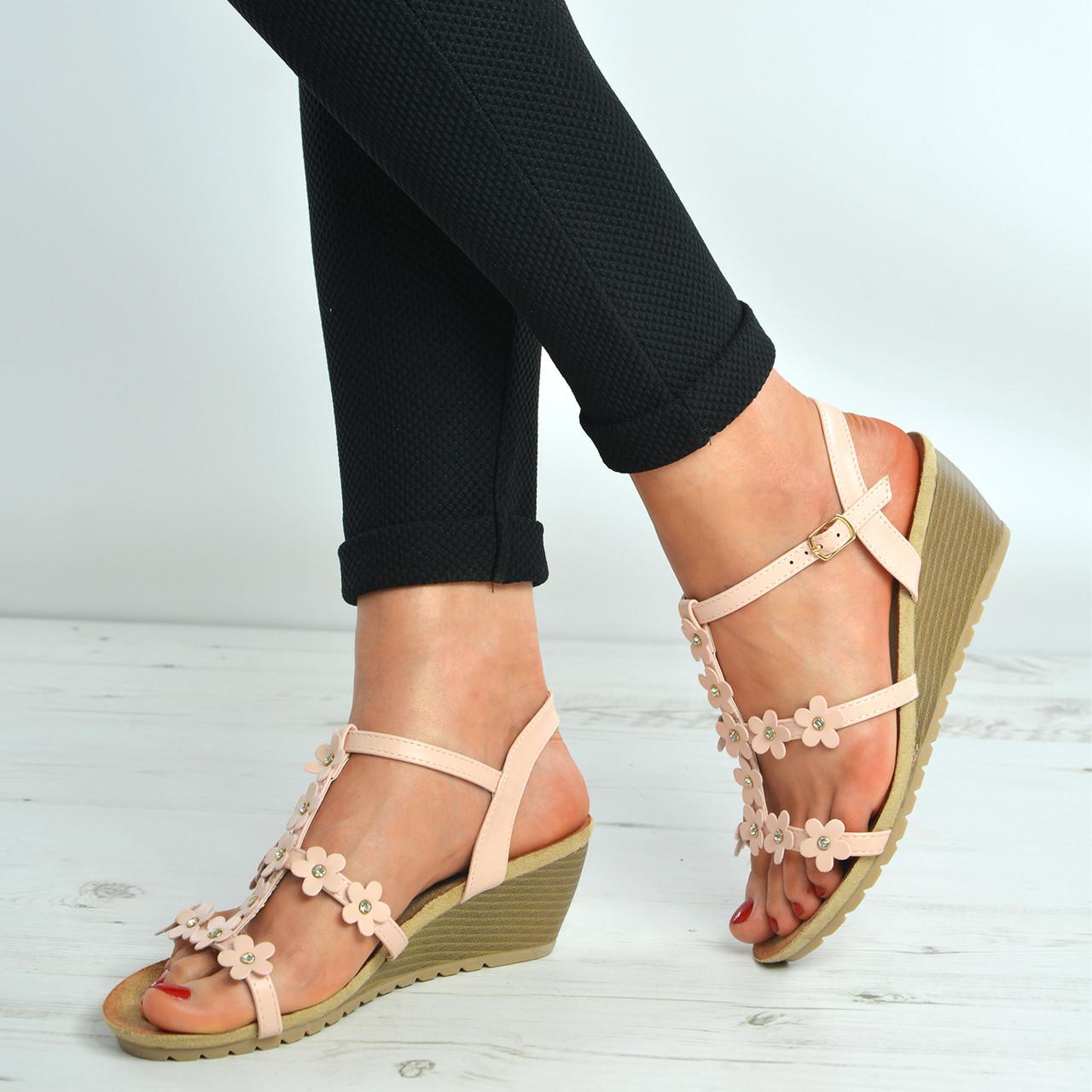 Camel Brown Comfort wedge heel sandals with diamante studs El Envío Libre En Línea Barato Éxito De Ventas TNbZQe