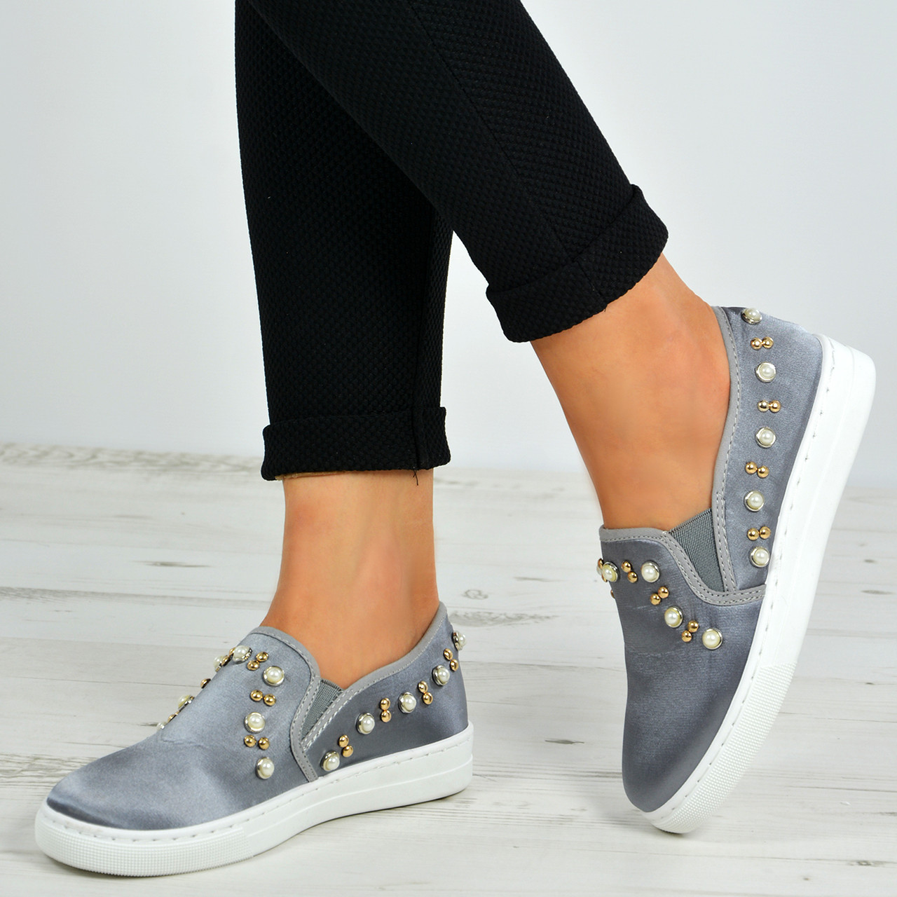 Mujer Flat Trainers Ladies Studded Faux Sneakers Fur Slip On Sneakers Faux Pumps Zapatos Talla cc9312
