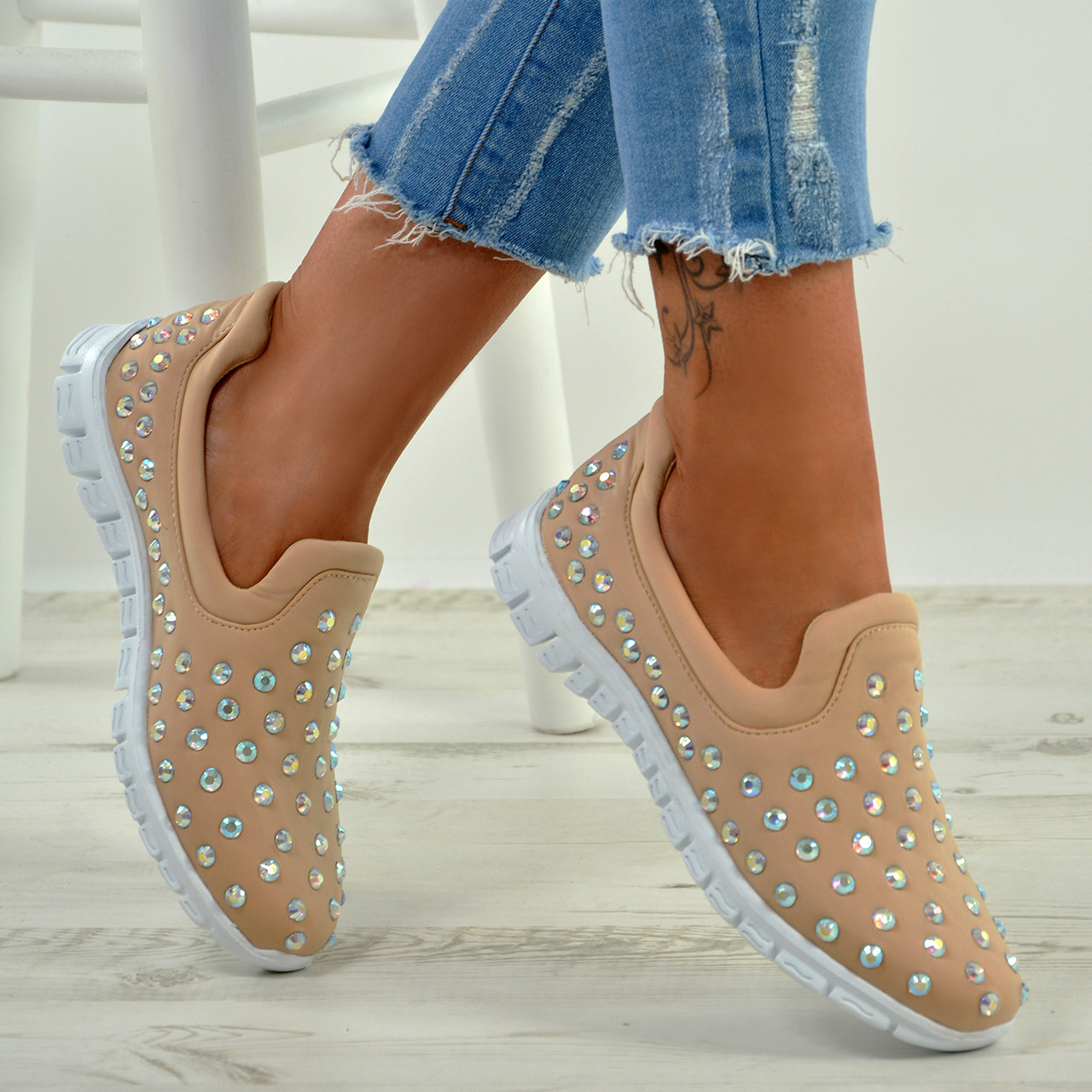 New Womens Slip On Trainers Ladies Studded Low Heel Flats Running Shoes Size Uk
