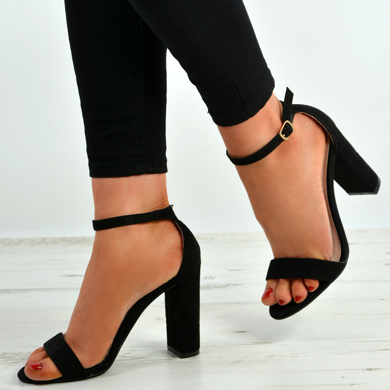 NEW LADIES TOE BLOCK HIGH HEELS PEEP TOE LADIES OPEN BACK PARTY ANKLE SANDALS Zapatos Talla a8ef88