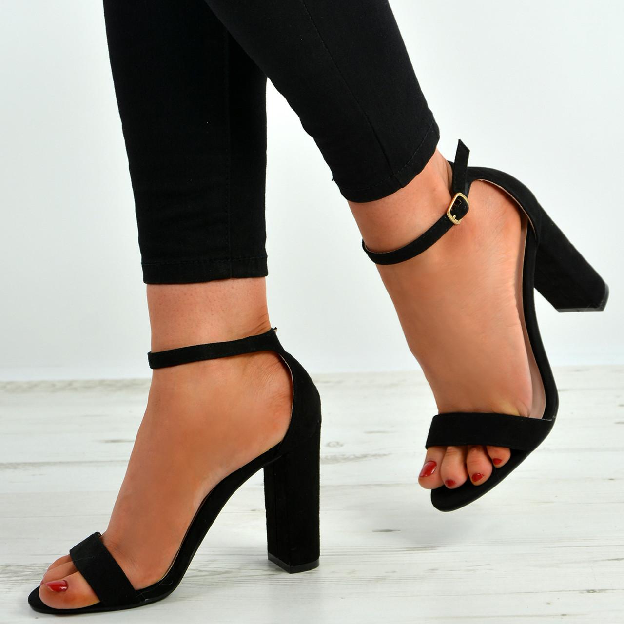 New Womens Ladies Mid Block Heel Ankle Strap Sandals Peep