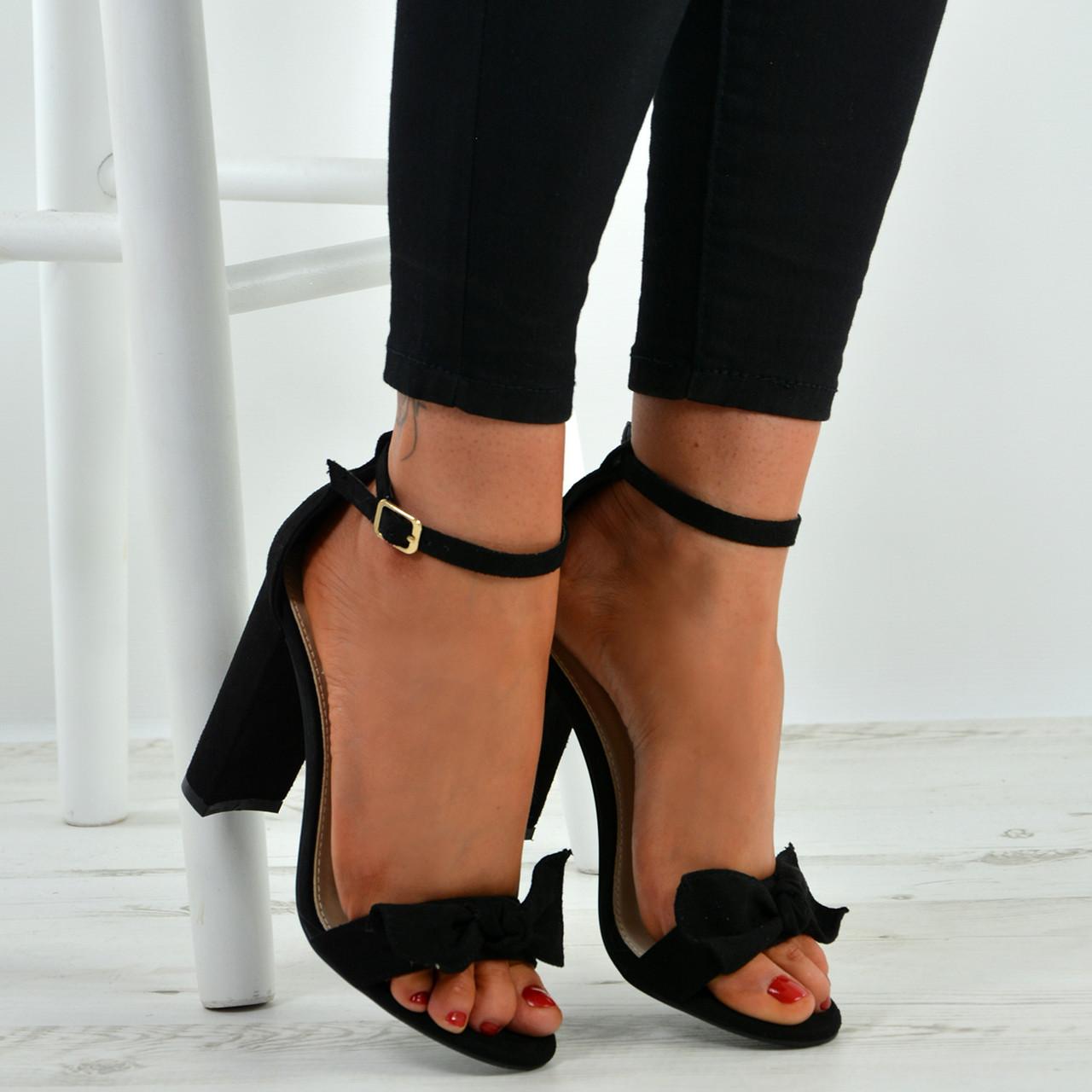 d8e1e6d57b6 New Womens Ladies Bow Sandals Ankle Strap Peep Toe High Block Heels Shoes