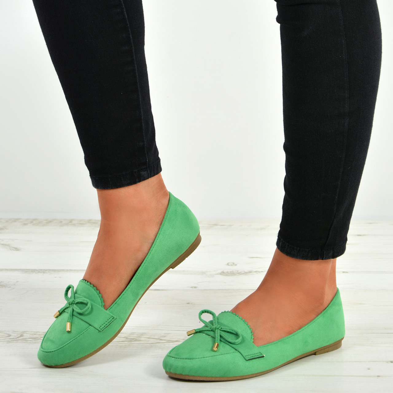 Ladies Faux Suede Low Flat Pumps Mujer Slip on zapatos Bow Ballerina Dolly Ballet zapatos on b51a33