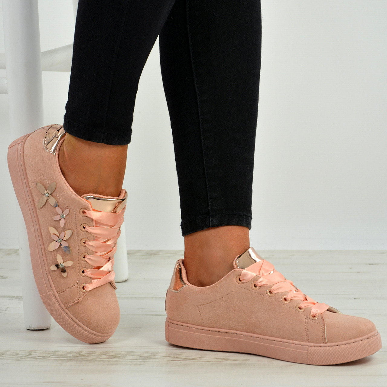 New Womens Lace Up Flower Trainers Ladies Studded Plimsoll Sneaker Shoes Size Uk