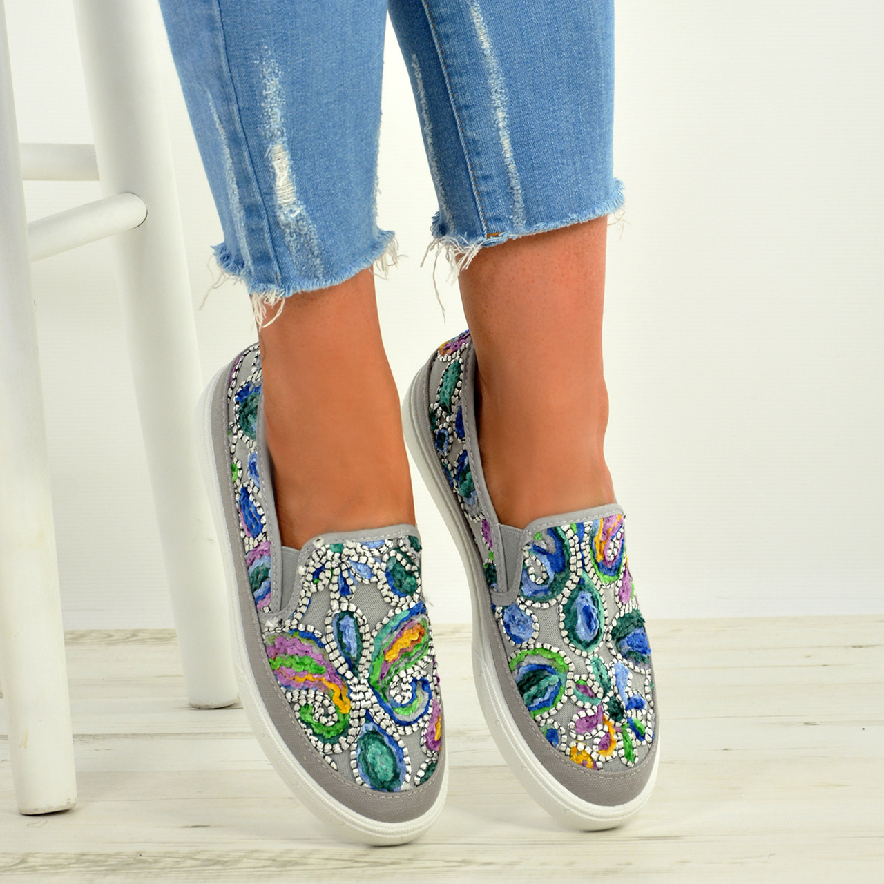 New Mujer Embroidered Flat Trainers Ladies Sneaker Zapatos Plimsolls Slip On Zapatos Sneaker Talla e6e71c