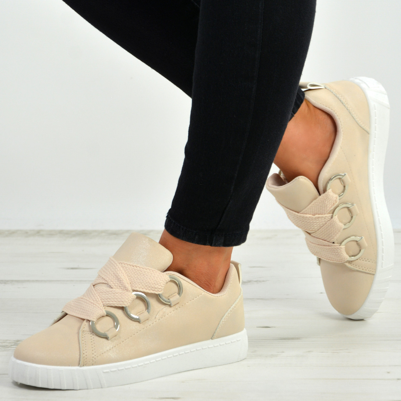 NEW Mujer LACE FLATS CHUNKY SOLE ZIP LACE Mujer UP TRAINERS FASHION PLIMSOLLS zapatos Talla 6294e8