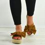 Alanya Camel Pearl Flatform Sandals