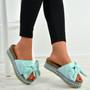 Alanya Light Blue Pearl Flatform Sandals