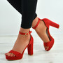 Payton Red Ankle Strap Sandals