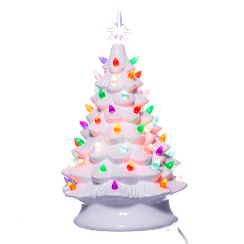 white ceramic christmas tree w lights
