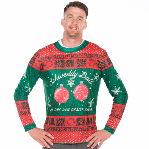 snl schweddy balls ugly christmas long sleeve tee faux real front - Balls Christmas Sweater