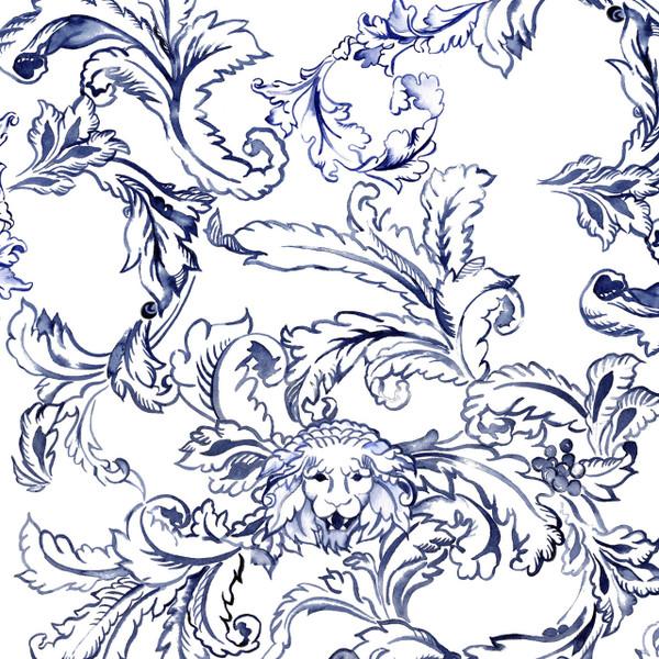 Roar Scroll Fabric Design shown in delft blue on white background