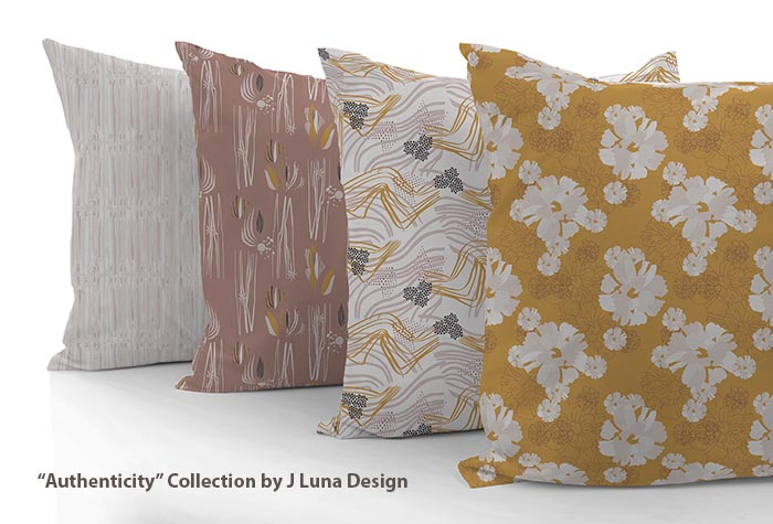 custom pillows featuring fabrics by J Luna Design